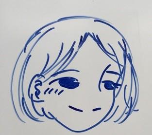 生徒が描いた池上先生の似顔絵